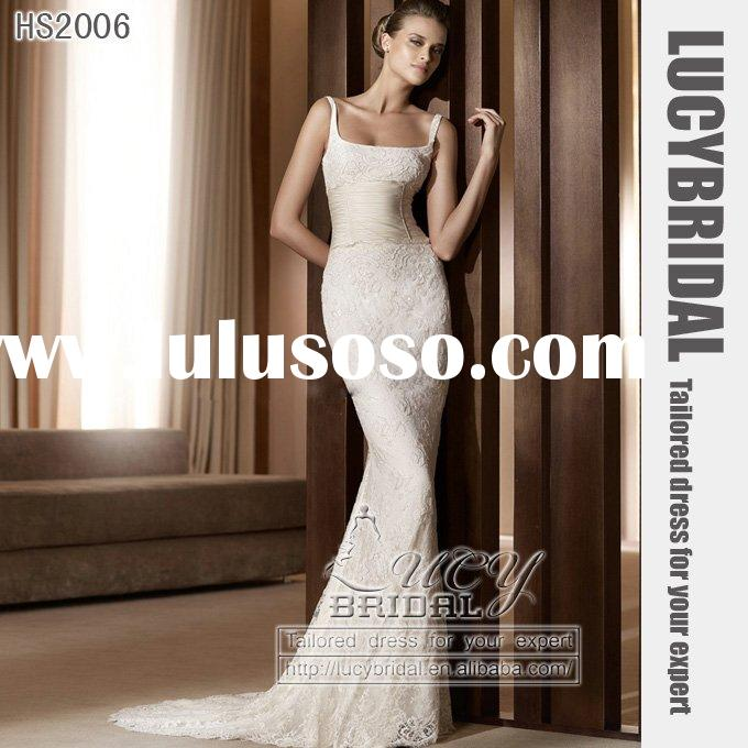 new arrival satin tulle lace beaded bridal wedding dress HS2006