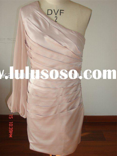 one shoulder long sleeve pink silk dress
