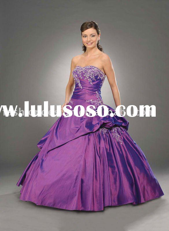 purple lace appliqued Quinceanera Ball gowns,bridesmaid prom dresses QB090
