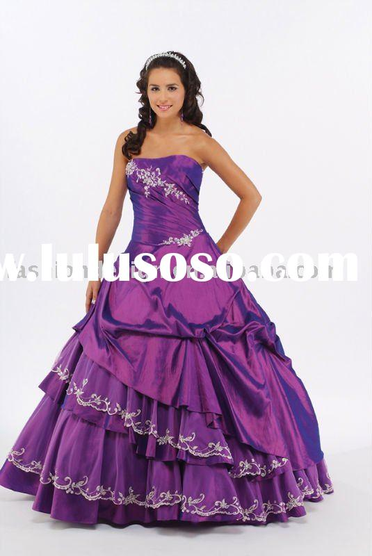 purple taffeta lace appliqued Quinceanera Ball gowns,bridesmaid prom dresses QB086