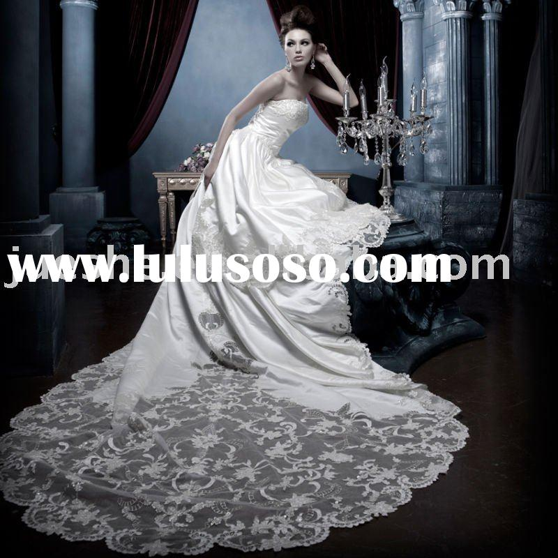 real sample classic long train luxury satin wedding dress 1401