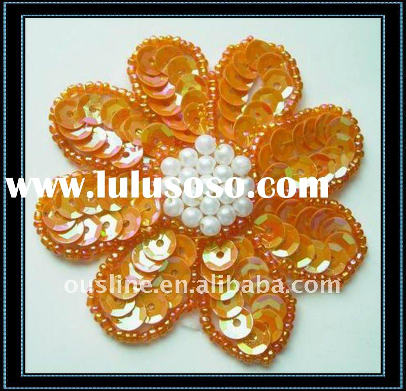 sequin flower applique,beaded embroidery