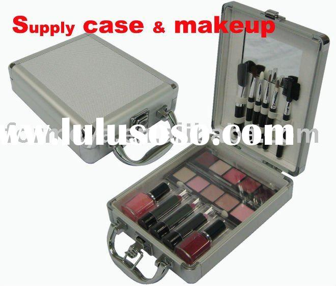 small aluminum cosmetic case and makeup products