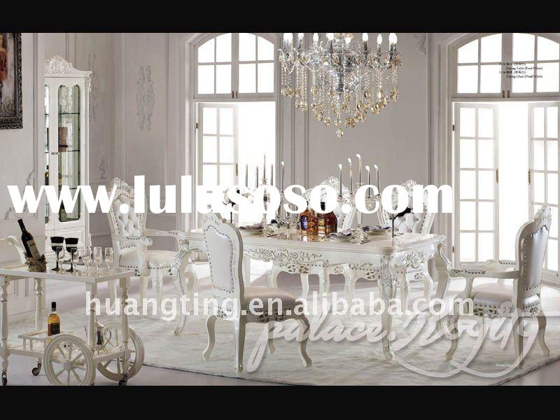 solid wood round dining table/ luxury classical dining room furniture/ antique wooden dining chair