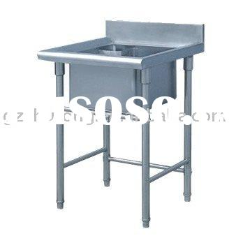 stainless steel kitchen sink work table.
