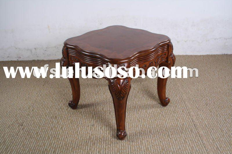 three legs round antique small hand carved wooden tea table set