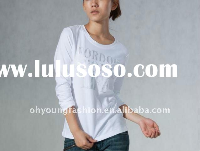 wholesale custom pure cotton long sleeve fashion design thick plain printed white women's fi