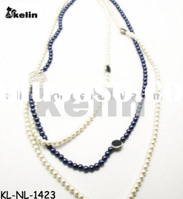wholesale latest fashion pearl beaded with rhinestone necklace