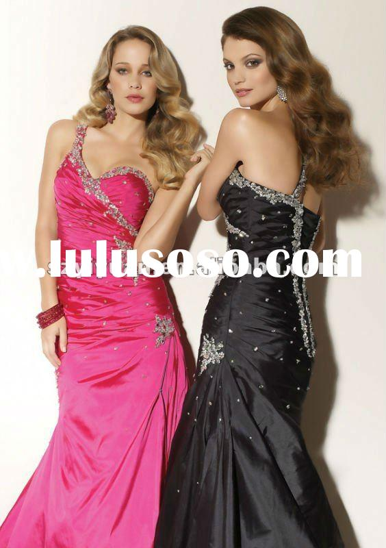 2012Hot Sale beaded crystal black & pink long women formal Evening Dress / Party Gown