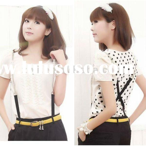 2012 hot selling lady tops with black polka dot printed on the back