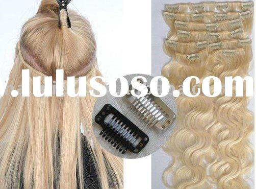 Chinese Indian remy human natural hair and straight wave curly clip in hair extension,clip on hair
