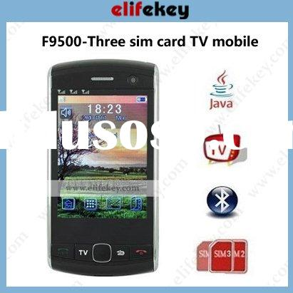F9500 GSM TV with 2.8'' touch screen triple sim card cherry mobile phone