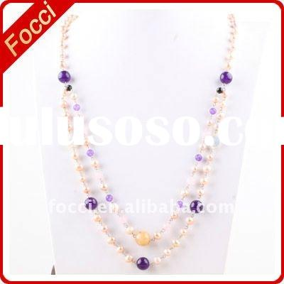 Factory outlet pink+purple crystal,freshwater pearl necklace