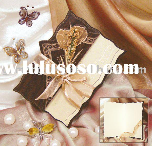 Laser cut wood invitations with decorations -- MX-WN037