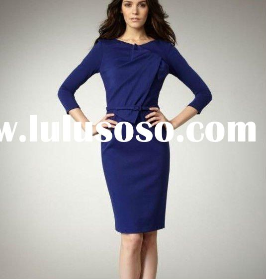 Office lady noble sapphire blue long sleeve career dress women dress