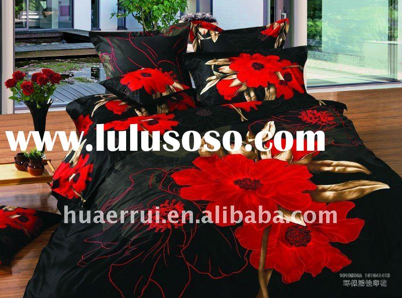 Red Flower custom Photo printed Bed sheets/Bedding sheet