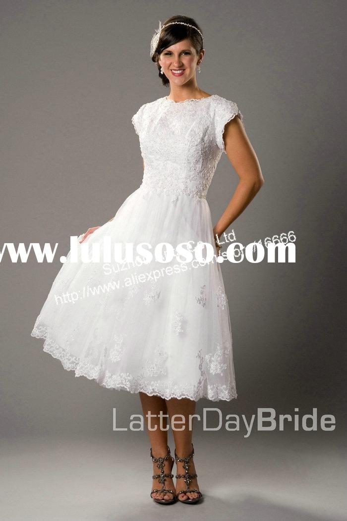 SL117 Appliqued A-line Tea Length Lace Short Wedding Dresses