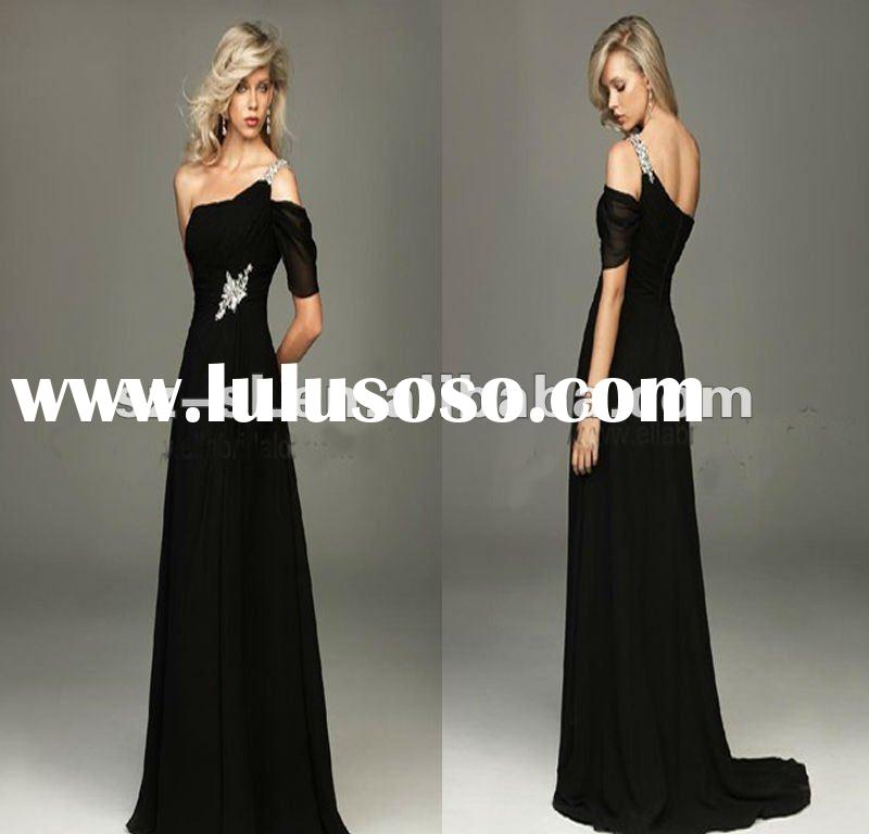 SL-x0409 black chiffon short evening dresses with sleeves 2012