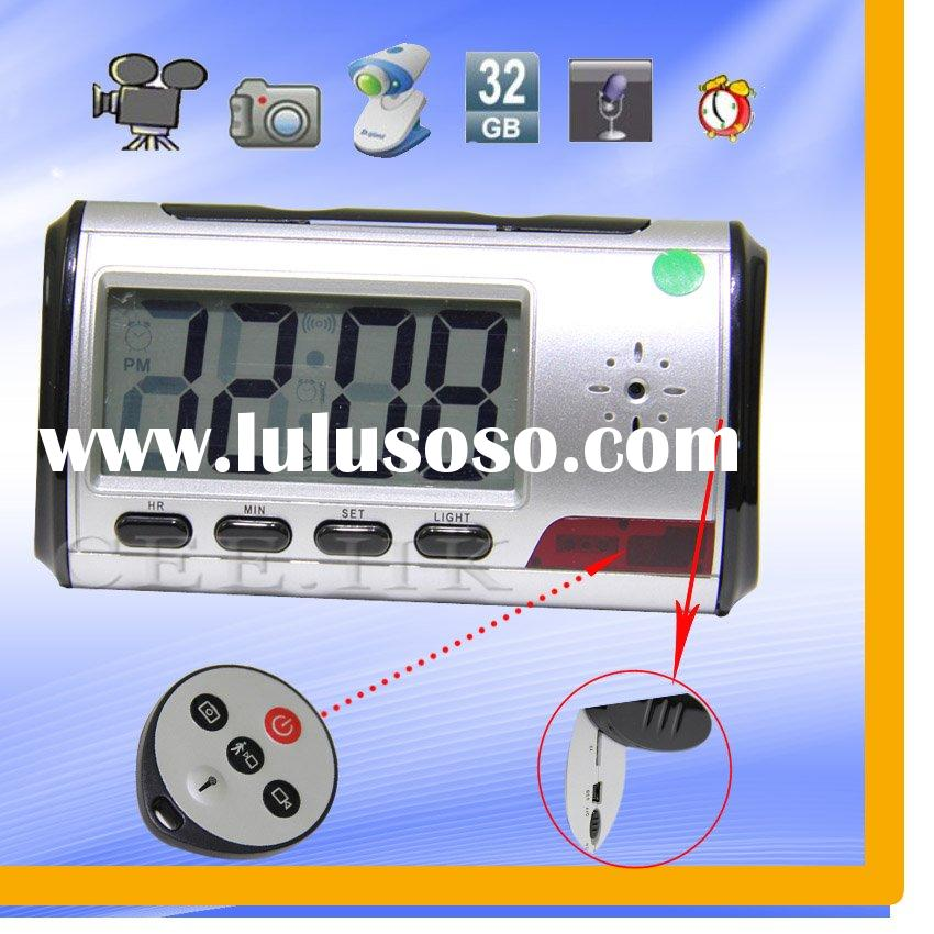 Table Clock Hidden Camera with Remote Control and Motion Detection