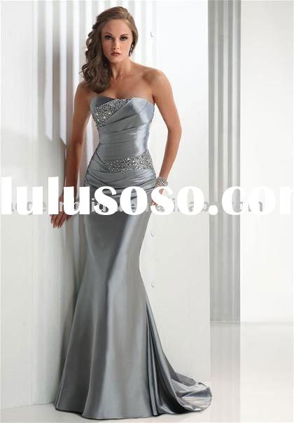 Top popular silver strapless beaded&pleated satin long dinner dress E061