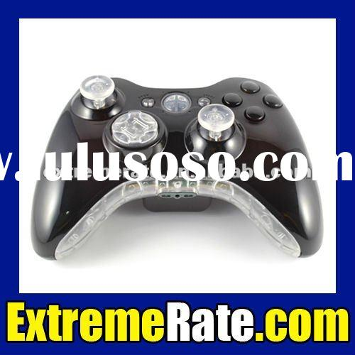 Ultra Violet Painted Black Repair Parts for Xbox 360 Controller Shell Complete Kit with Clear Insert
