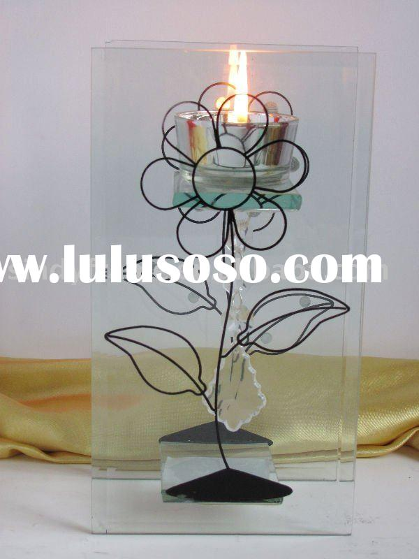 flower design glass tea-light candle holder