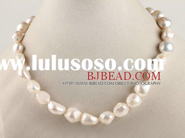 natural white irregular shape pearl necklace