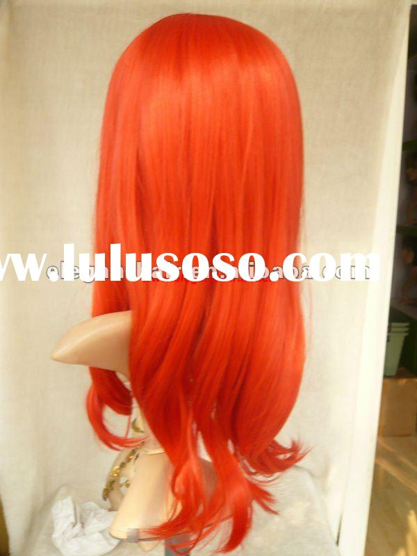 synthetic hair full machine wig/red color wavy hair wig