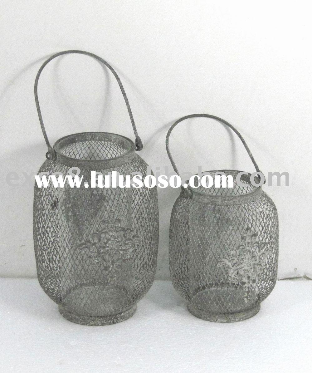 090169F-S/2 hanging round metal wire candle lantern