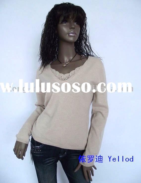 100% Cashmere sweater, Woman (ladies) Hand Crochet Lace Neck Pullover Sweater