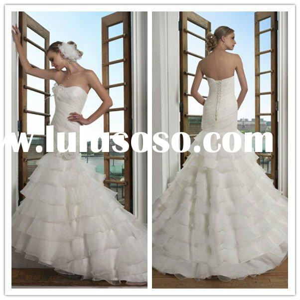2011 Fashion Strapless Sleeveless Bridal Gowns Mermaid Organza Beaded front short and long back wedd