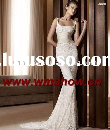 2011 Latest Style Hot Sale Spaghetti Strap Mermaid Wedding Gown French Lace