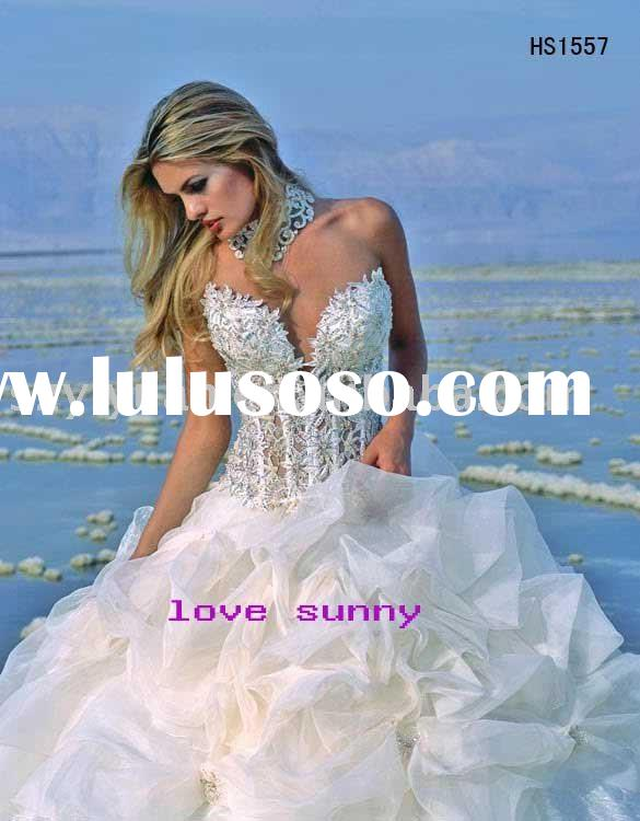 2011 New Style Elegant fully crystals tulle bridal gowns wedding / Prom dress