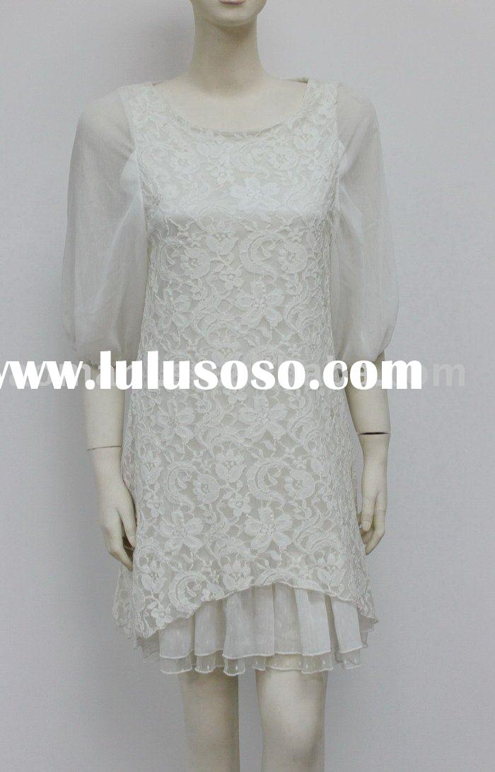 2011 S/S new fashion white lace long sleeves women dresses