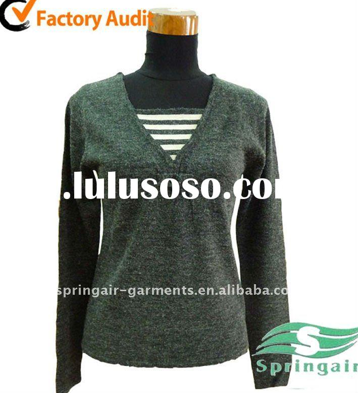 2011 fashion woman V neck pullover sweater