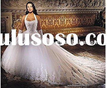 2011 hot sales halter appliqued white organza royal train wedding gown HS10181