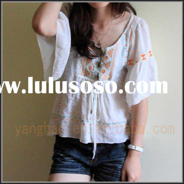 2011 new design embroidered ruffle short sleeves blouse