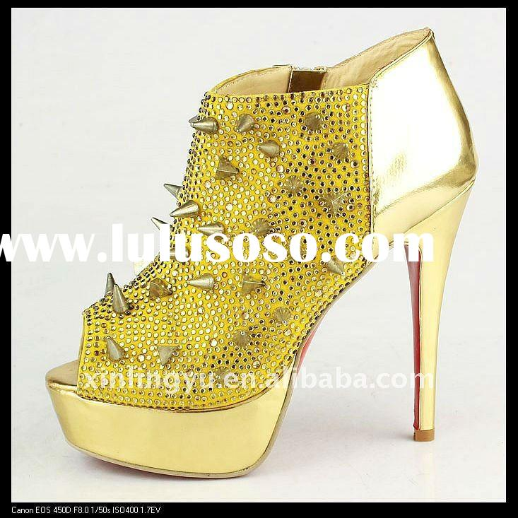 2012 Fashion women stud new design rivet high heel dress shoes
