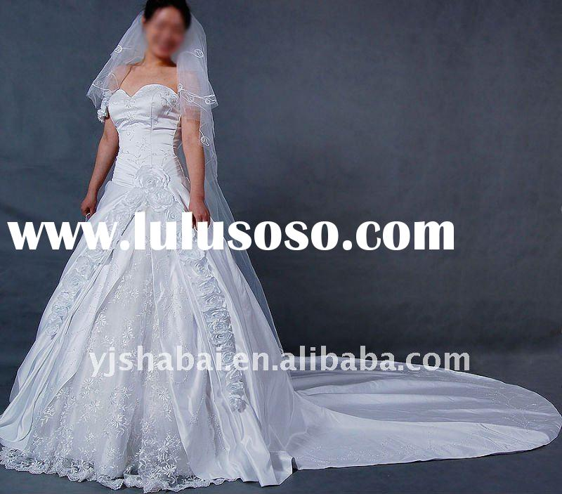 2012 New Design Charming Sweetheart Embroidery Wedding Dress With Flowers YS-0200