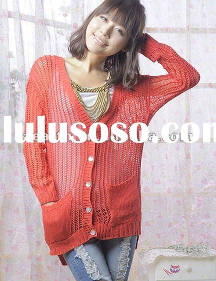 2012 ladies knitted cardigan sweater with pocket