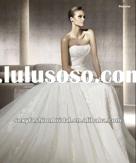 2012 strapless lace accented can be detachable skirt wedding dress designer