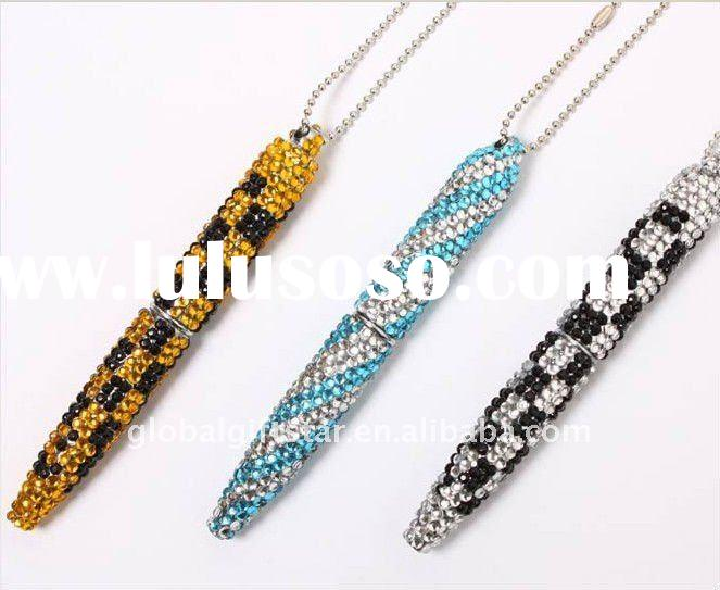 2012 unique design hot selling gift necklace colorful crystal ball pen(JLYCP171)