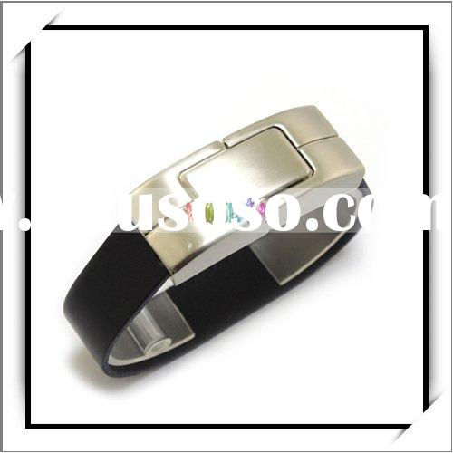 8GB USB Flash Memory Drive Black Bracelet Leather