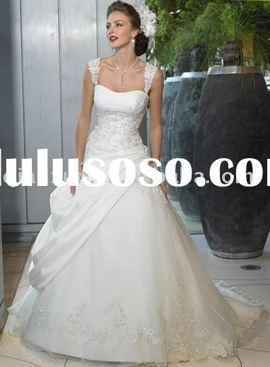 A-Line/Princess Square Chapel Train Satin wedding dress for brides 2009 style
