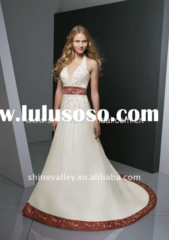 Brand New Halter V-Neck Embroidery Satin Red and White Wedding Dress,SH850
