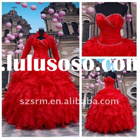 Classic Red Strapless Sweetheaer Beaded Corset Ruffled Ball Gown Wedding Gown 2012