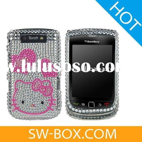 Cute Hello Kitty and Hearts Rhinestone Hard Case for BlackBerry Torch 9800 - Silver