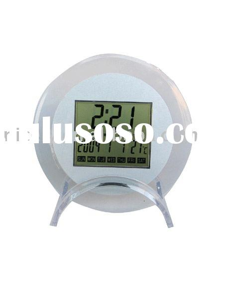 Desktop calendar with time, temperature display in round shape