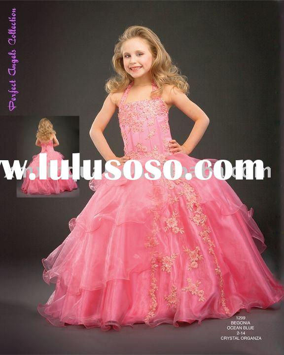 FG047 Free Shipping hatler embroidered tiered ball gown flower girl dress