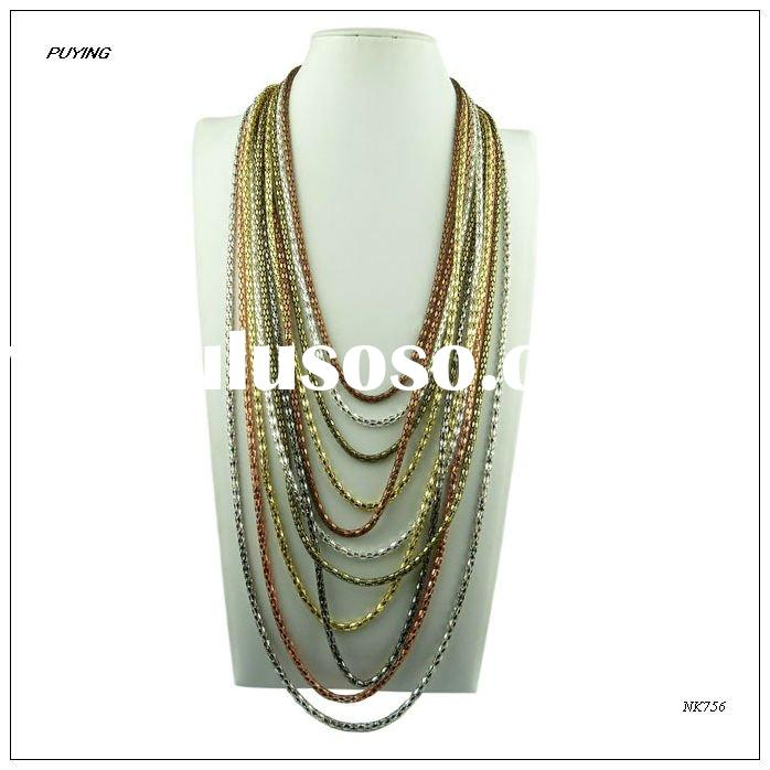 Fashion Multi-Strands Lady Costume Metal Necklace,High End Metal Jewelry